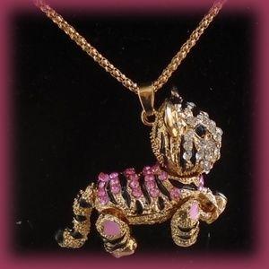 Pink Striped Tiger Crystal & Rhinestone Necklace